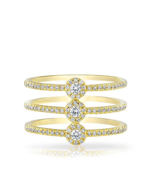 Anne Sisteron | Multicolor 14kt Yellow Gold Diamond Triple Circuit Ring | Lyst