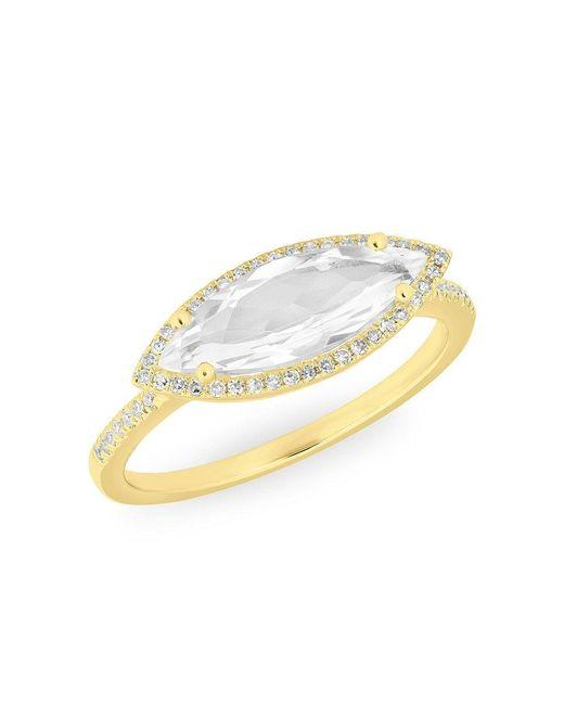 Anne Sisteron - Metallic 14kt Yellow Gold Diamond Topaz Marquis Miranda Ring - Lyst