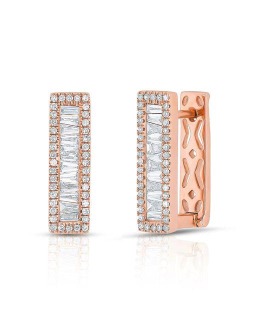 Anne Sisteron - Multicolor 14kt Rose Gold Baguette Diamond Rectangle Honey Huggie Earrings - Lyst