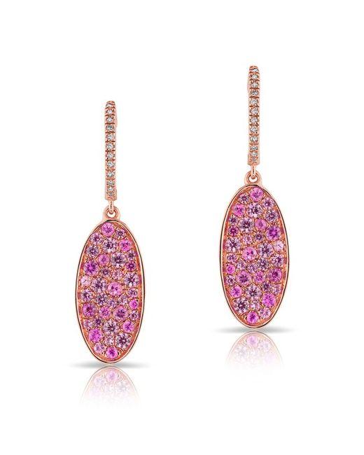 Anne Sisteron - 14kt Rose Gold Pink Sapphire Oval Diamond Earrings - Lyst