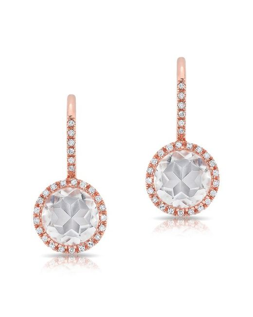 Anne Sisteron - Multicolor 14kt Rose Gold Diamond White Topaz Round Wireback Earrings - Lyst