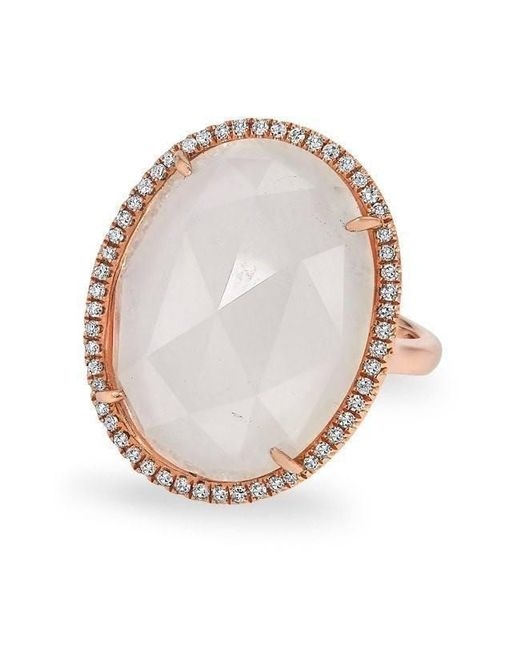 Anne Sisteron - Metallic 14kt Rose Gold Moonstone Diamond Oval Cocktail Ring - Lyst