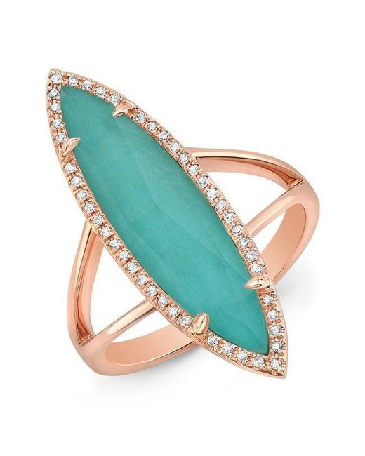 Anne Sisteron | Multicolor 14kt Rose Gold Diamond Small Turquesa Ring | Lyst