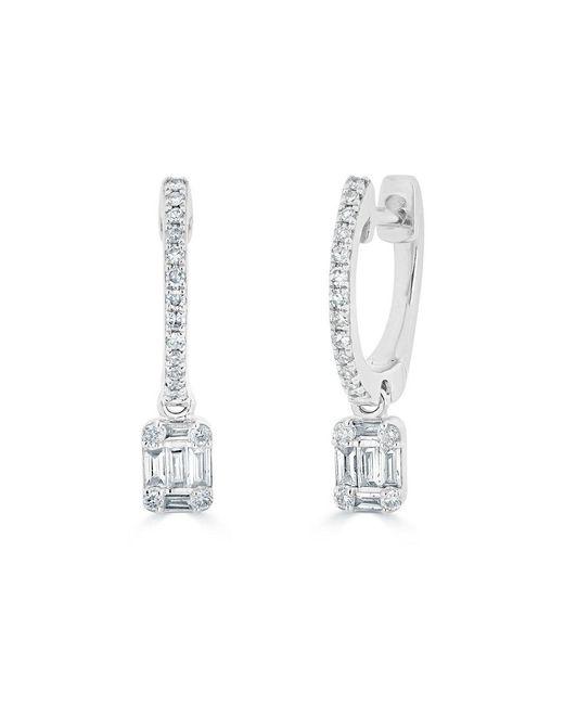 Anne Sisteron - Multicolor 14kt White Gold Mini Baguette Diamond Rectangle Ryleigh Drop Earrings - Lyst