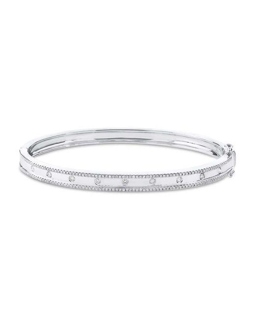 Anne Sisteron - Metallic 14kt White Gold Diamond Trimmed Bangle - Lyst