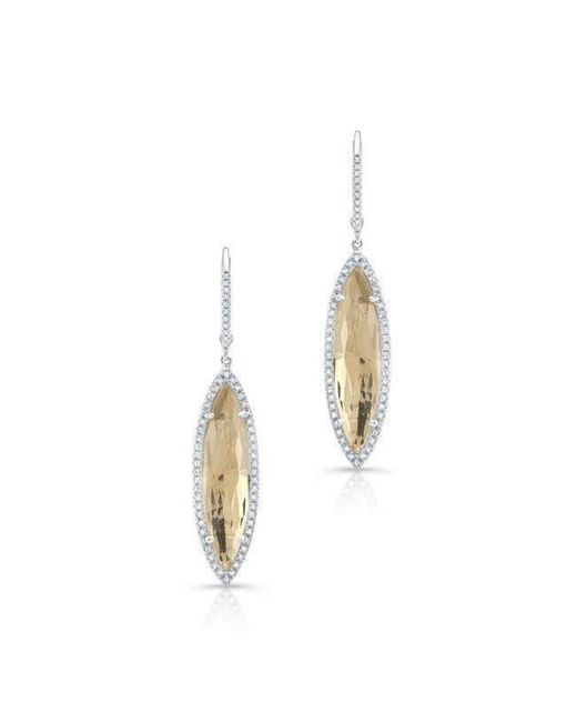 Anne Sisteron - 14kt White Gold Diamond White Topaz Small Serena Marquis Earrings - Lyst