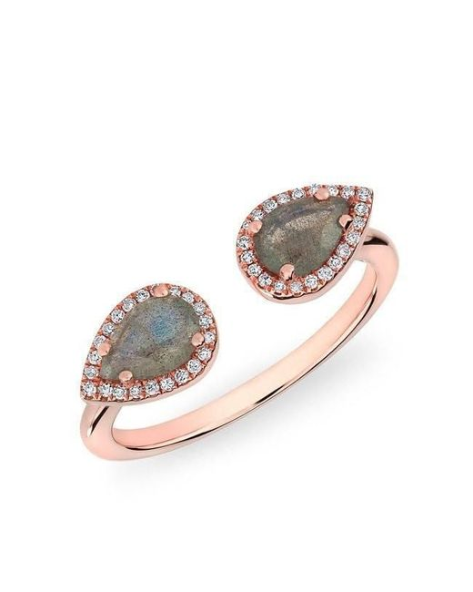 Anne Sisteron - Metallic 14kt Rose Gold Labradorite Diamond Throne Ring - Lyst