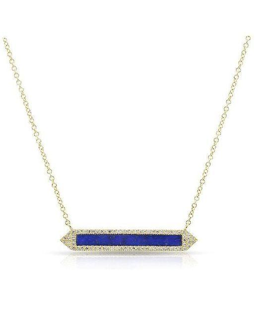 Anne Sisteron - Blue 14kt Yellow Gold Lapis Diamond Bar Necklace - Lyst