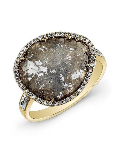 Anne Sisteron - Metallic 14kt Yellow Gold Diamond Slice Ring - Lyst