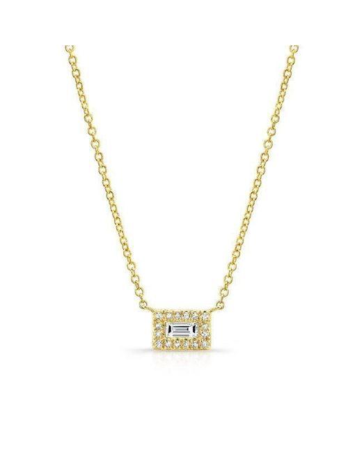 Anne Sisteron | Metallic 14kt Yellow Gold Baguette Diamond Mini Brick Necklace | Lyst