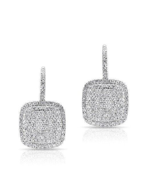 Anne Sisteron - Multicolor 14kt White Gold Diamond Cushion Earrings - Lyst