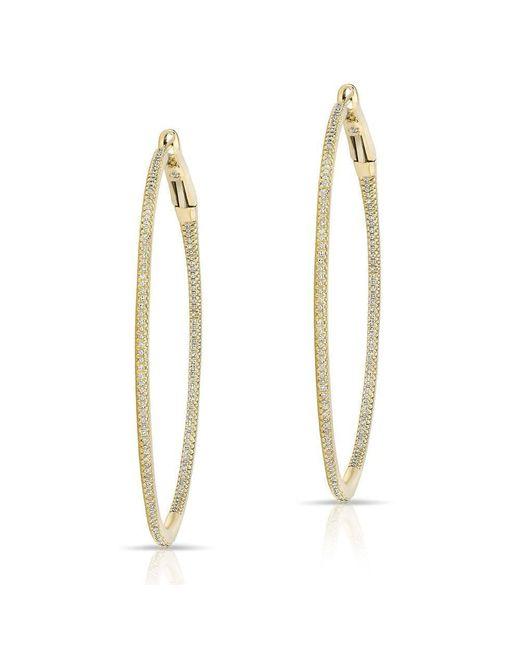 """Anne Sisteron - Metallic 14kt Yellow Gold Diamond 2"""" Hoop Earrings - Lyst"""