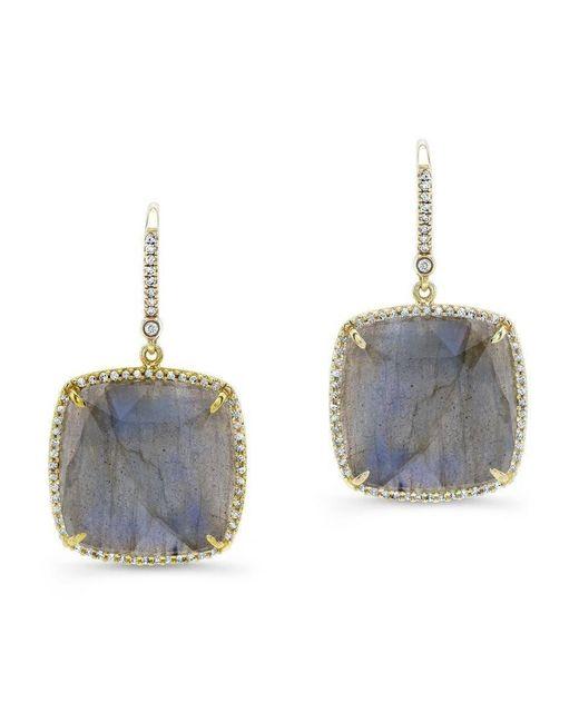 Anne Sisteron - Blue 14kt Yellow Gold Labradorite Diamond Cushion Cut Earrings - Lyst
