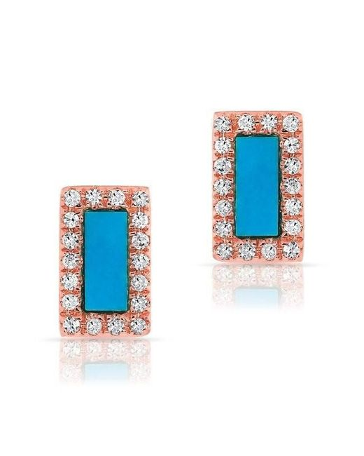 Anne Sisteron - Blue 14kt Rose Gold Turquoise Diamond Bar Stud Earrings - Lyst