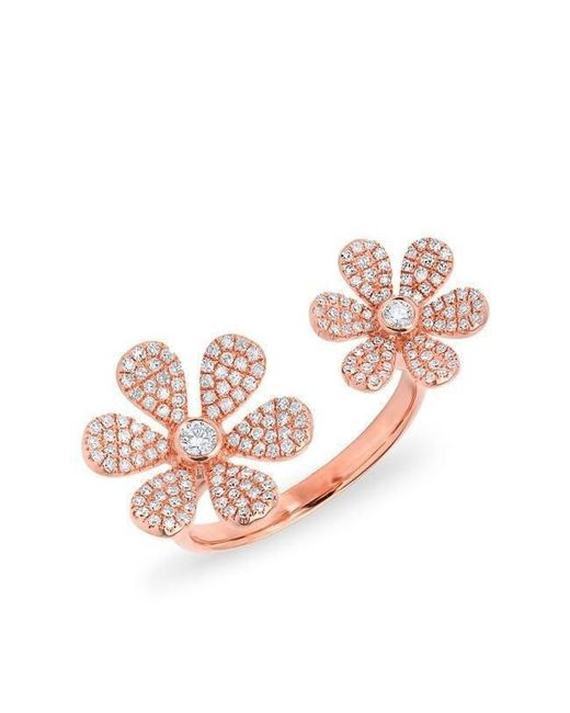Anne Sisteron - Pink 14kt Rose Gold Diamond Floating Double Daisy Flower Ring - Lyst