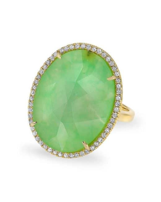 Anne Sisteron - Multicolor 14kt Yellow Gold Chrysoprase Diamond Oval Cocktail Ring - Lyst