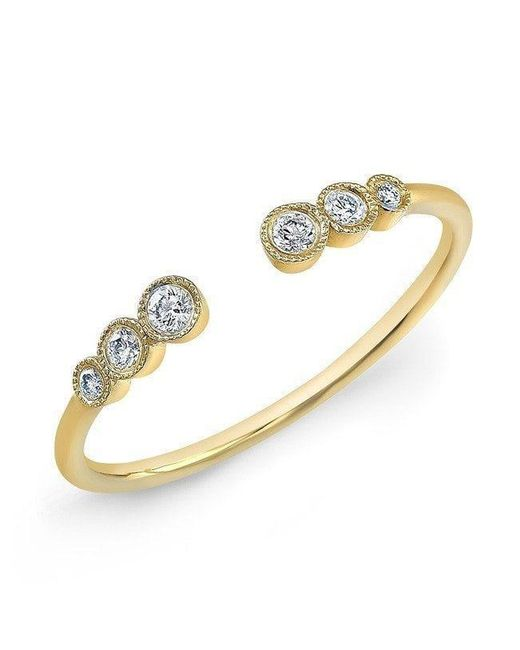 Anne Sisteron - Metallic 14kt Yellow Gold Open Bezel Set Diamond Ring - Lyst