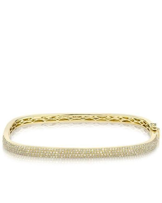 Anne Sisteron - Metallic 14kt Yellow Gold Half Diamond Square Bangle Bracelet - Lyst