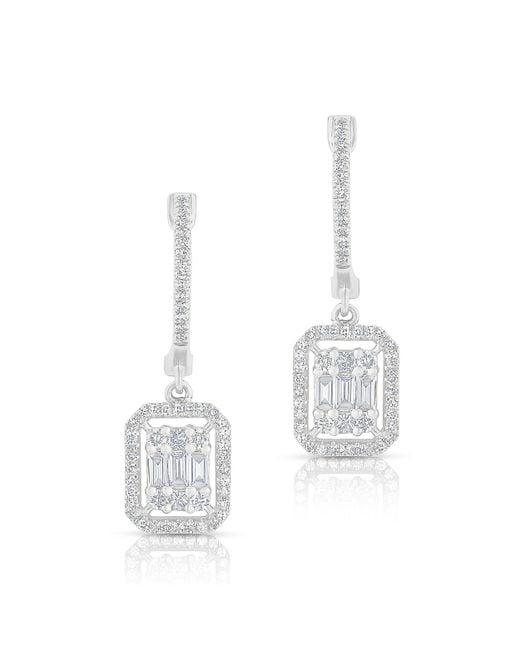 Anne Sisteron | Multicolor 14kt White Gold Baguette Diamond Rectangle Ryleigh Drop Earrings | Lyst