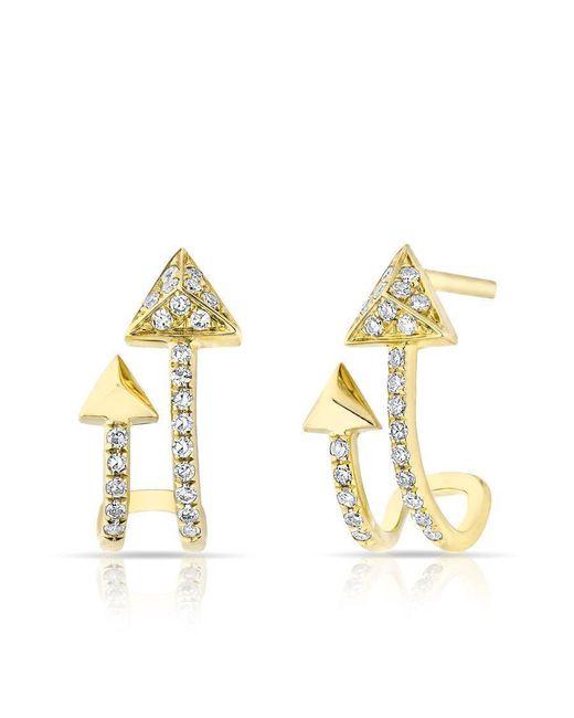Anne Sisteron - Metallic 14kt Yellow Gold Diamond Curved Arrow Huggie Earrings - Lyst