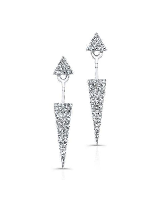 Anne Sisteron - 14kt White Gold Diamond Double Triangle Floating Earrings - Lyst