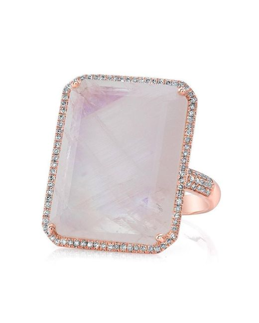 Anne Sisteron - Multicolor 14kt Rose Gold Moonstone Diamond Rectangle Cocktail Ring - Lyst