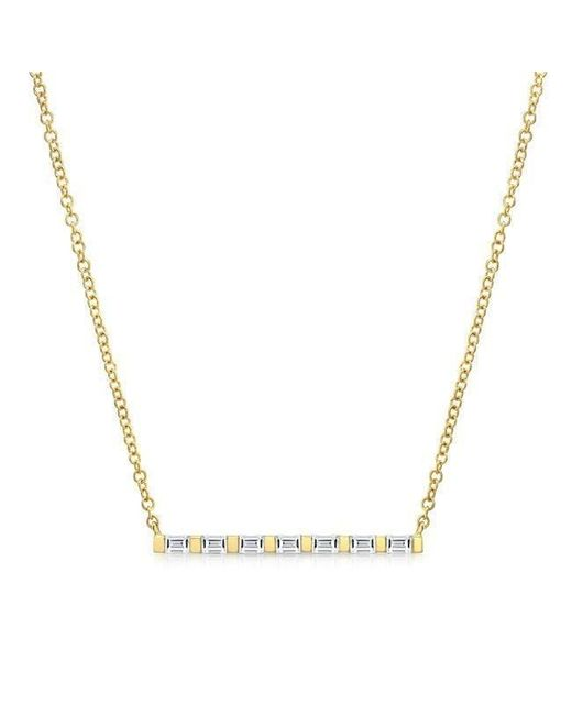 Anne Sisteron | Metallic 14kt Yellow Gold Baguette Diamond Bar Necklace | Lyst