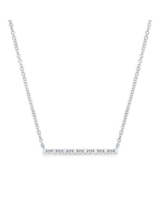 Anne Sisteron | Metallic 14kt White Gold Baguette Diamond Bar Necklace | Lyst