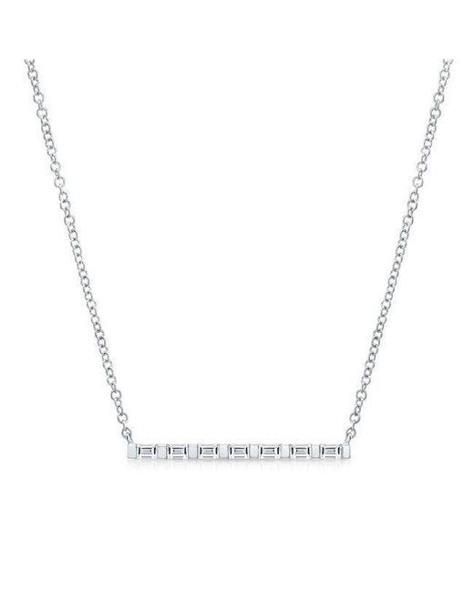 Anne Sisteron - Metallic 14kt White Gold Baguette Diamond Bar Necklace - Lyst