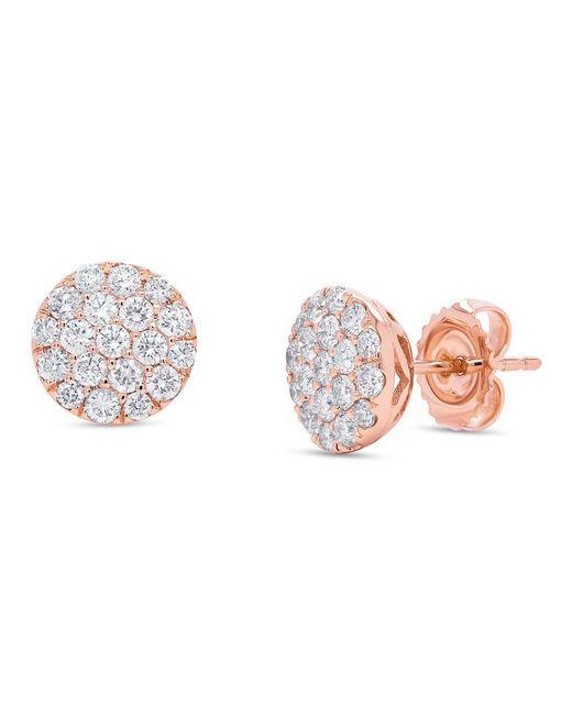 Anne Sisteron - Metallic 14kt Rose Gold Large Diamond Disc Stud Earrings - Lyst