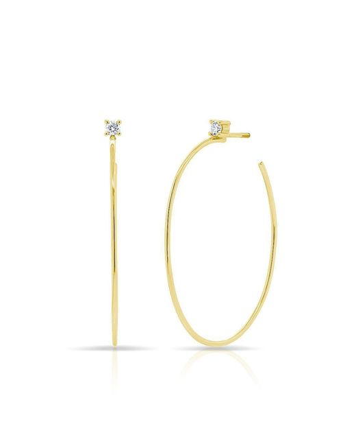 Anne Sisteron - Metallic 14kt Yellow Gold Diamond Andrea Oval Hoop Earrings - Lyst