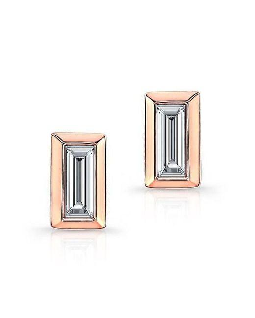 Anne Sisteron - Multicolor 14kt Rose Gold Diamond Single Baguette Bar Earrings - Lyst