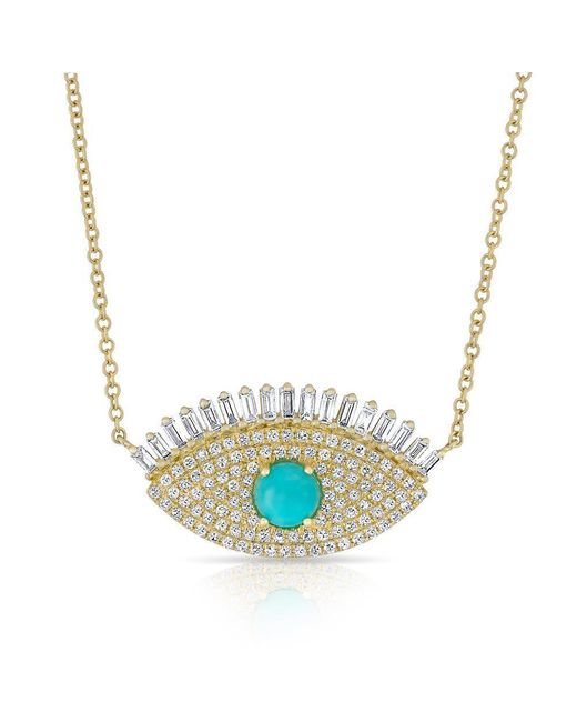 Anne Sisteron - Metallic 14kt Yellow Gold Baguette Diamond And Turquoise Gypsy Necklace - Lyst