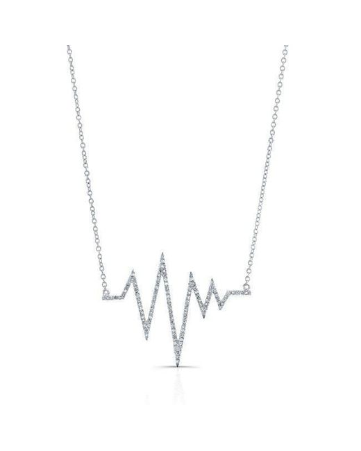 Anne Sisteron - Metallic 14kt White Gold Diamond Heartbeat Necklace - Lyst