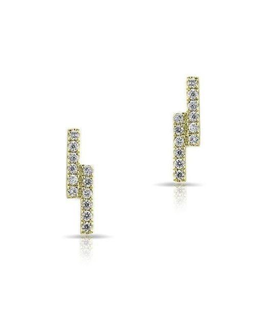 Anne Sisteron - Metallic 14kt Yellow Gold Diamond Ridge Stud Earrings - Lyst