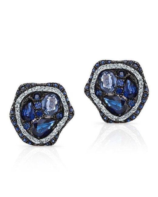 Anne Sisteron - 14kt White Gold Blue Sapphire Diamond Cluster Stud Earrings - Lyst