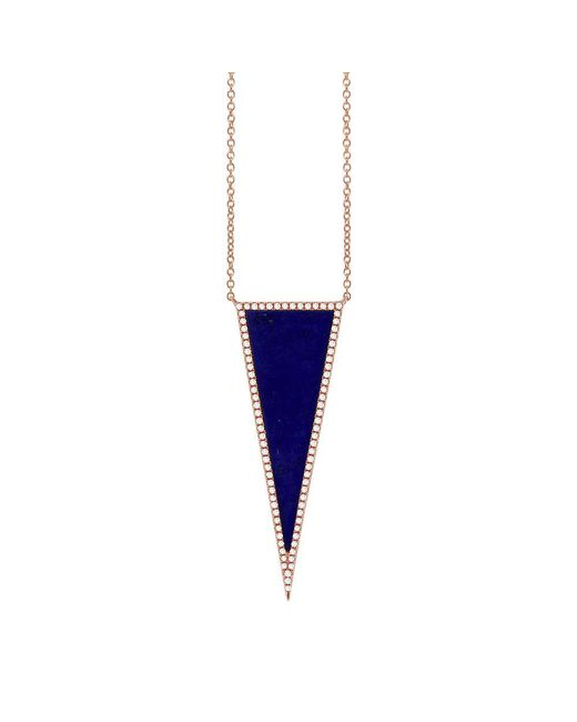Anne Sisteron - Blue 14kt Rose Gold Diamond Lapis Triangle Necklace - Lyst