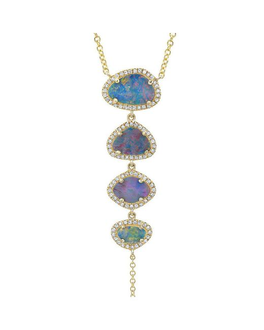 Anne Sisteron - Green 14kt Yellow Gold Opal Diamond Lariat Necklace - Lyst