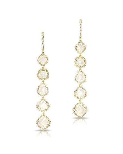 Anne Sisteron - Metallic 14kt Yellow Gold Organic Moonstone Diamond Drop Earrings - Lyst