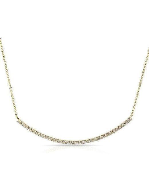 Anne Sisteron - Metallic 14kt Yellow Gold Diamond Double Sleek Crescent Necklace - Lyst