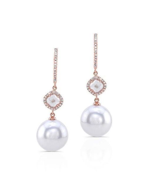 Anne Sisteron - Metallic 14kt Rose Gold Diamond Slice Pearl Drop Earrings - Lyst