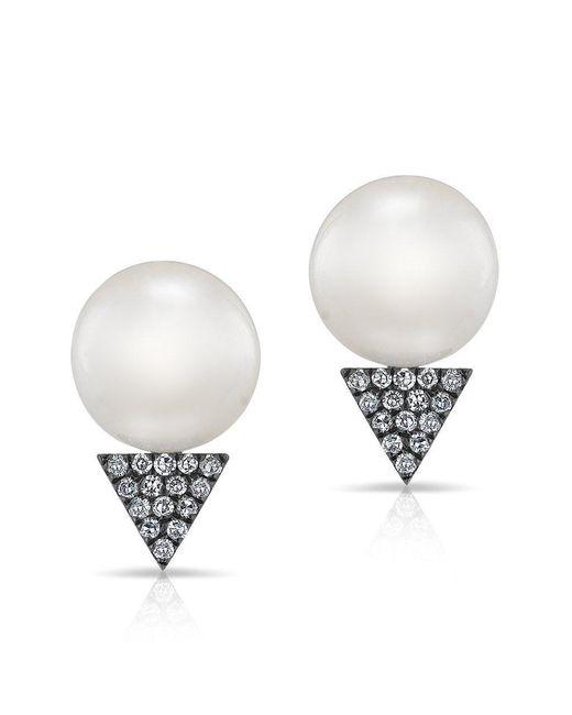 Anne Sisteron - Multicolor 14kt Rose Gold Pearl Diamond Triangle Stud Earrings - Lyst