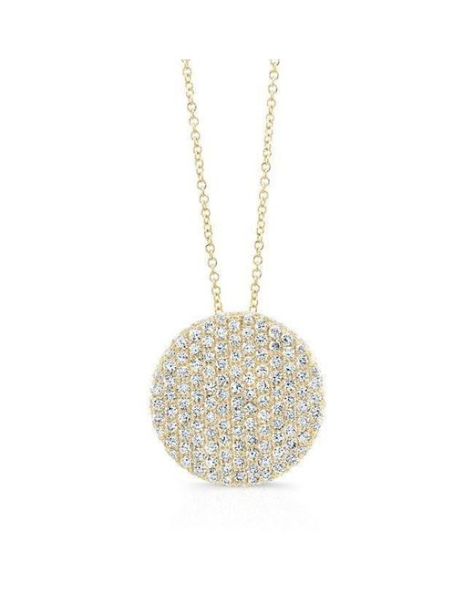 Anne Sisteron | Metallic 14kt Yellow Gold Diamond Luxe Disc Necklace | Lyst