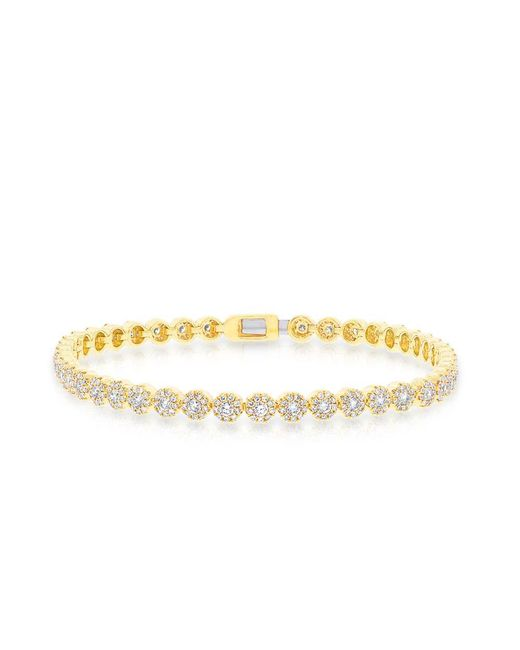 Anne Sisteron - Metallic 14kt Yellow Gold Diamond Love Collection Tennis Bracelet - Lyst