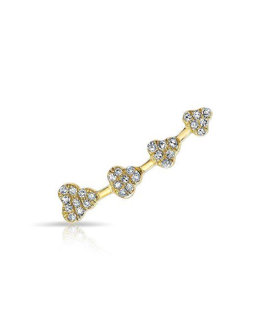 Anne Sisteron | Metallic 14kt Yellow Gold Diamond Hearts Ear Climber | Lyst