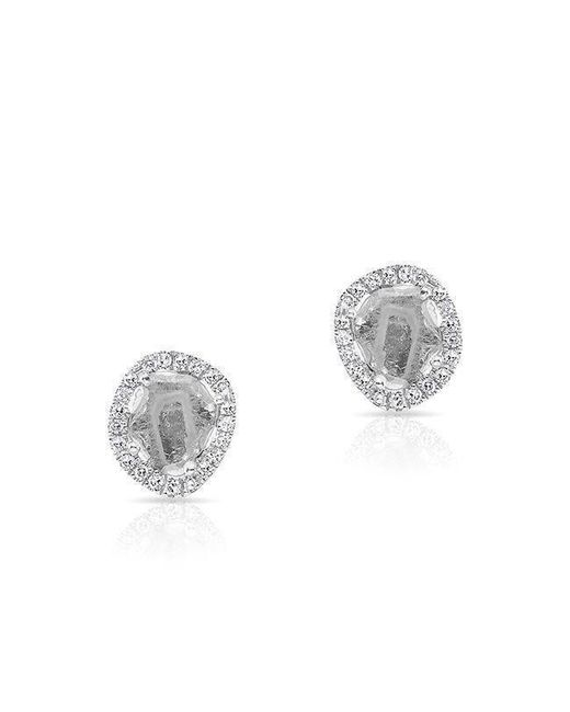 Anne Sisteron | Metallic 14kt White Gold Mini Diamond Slice Stud Earrings | Lyst