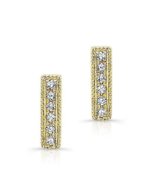Anne Sisteron | Metallic 14kt Yellow Gold Diamond Mini Edge Bar Earrings | Lyst