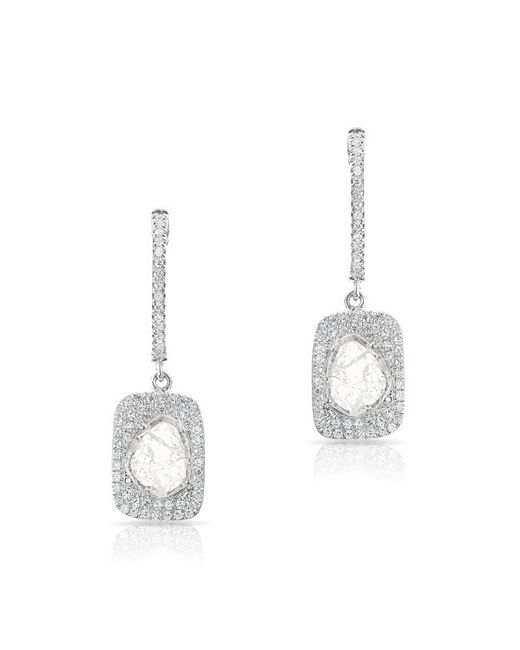 Anne Sisteron - Multicolor 14kt White Gold Diamond Slice Rectangle Eyelet Earrings - Lyst