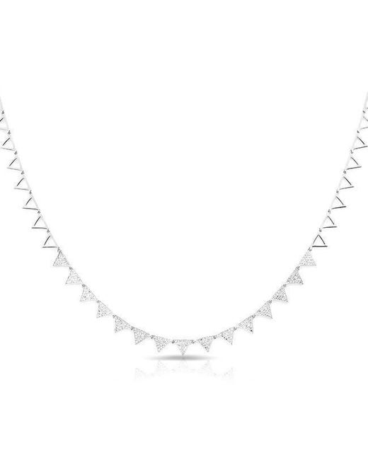Anne Sisteron - Metallic 14kt White Gold Diamond Triangle Link Necklace - Lyst