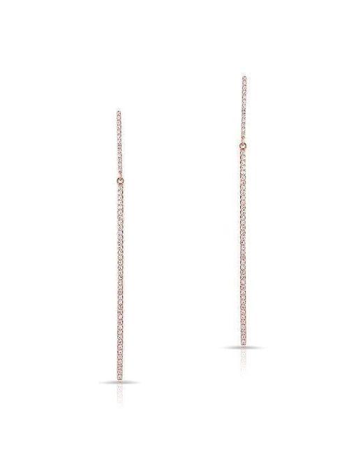 Anne Sisteron   Metallic 14kt Rose Gold Double Thin Diamond Bar Earrings   Lyst